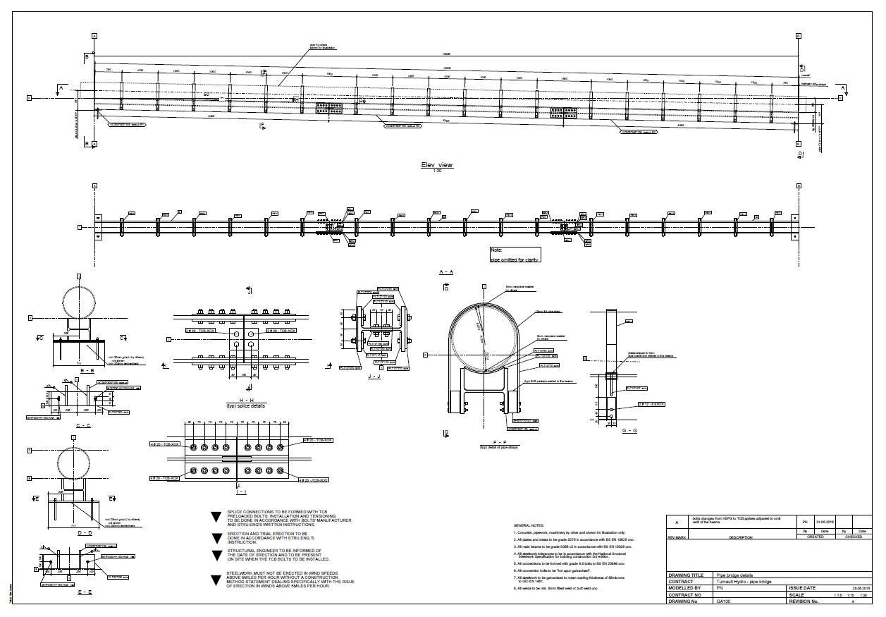 GA100 – Pipe bridge details – Rev A